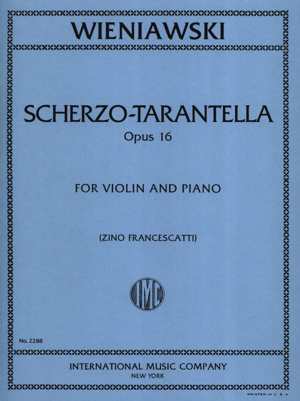 WIENIAWSKI - Scherzo-Tarantella op. 16 - Partition - di-arezzo.com
