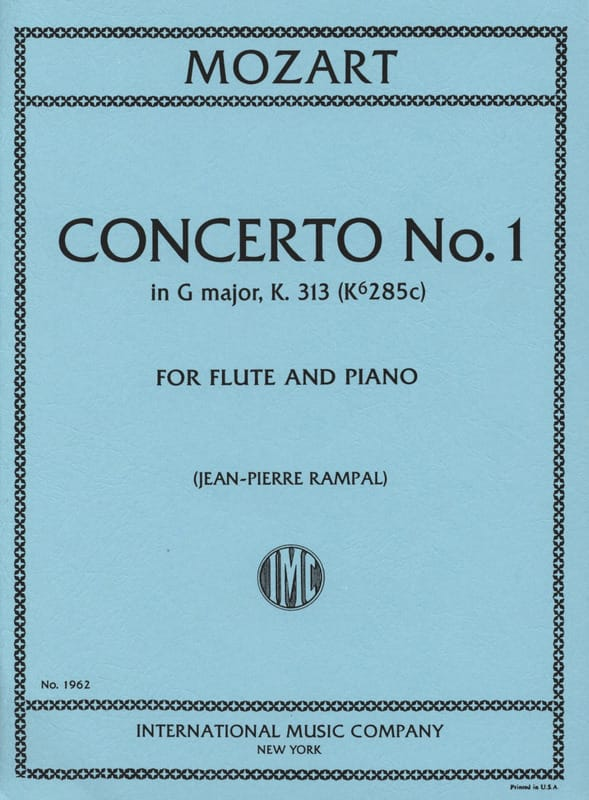 MOZART - Concerto No. 1 G Major KV 313 - Piano Flute - Partition - di-arezzo.co.uk