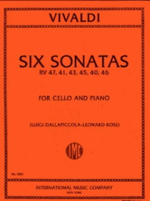 VIVALDI - 6 Sonatas - Cello - Partition - di-arezzo.com