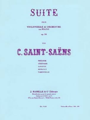 Camille Saint-Saëns - Suite Op. 16 For Cello and Orchestra - Partition - di-arezzo.co.uk