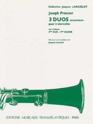 Joseph Pranzer - 3 Concert Duets - 3rd Duet for 2 clarinets - Partition - di-arezzo.co.uk