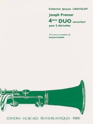 Joseph Pranzer - 4th Concertant Duo - 2 Clarinets - Partition - di-arezzo.co.uk