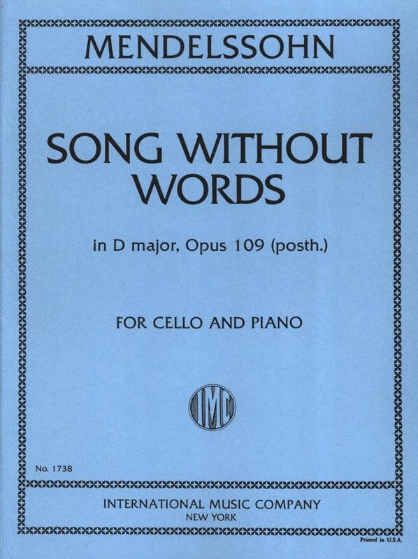 MENDELSSOHN - Canción sin palabras en D Major op. 109 posth. - Partition - di-arezzo.es