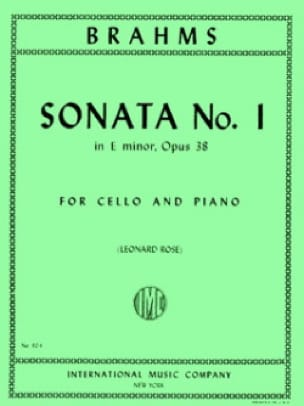 BRAHMS - Sonata n°1 in E minor op. 38 - Partition - di-arezzo.fr