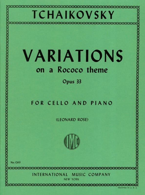 TCHAIKOVSKY - Variations On A Rococo Theme Op. 33 - Partition - di-arezzo.co.uk