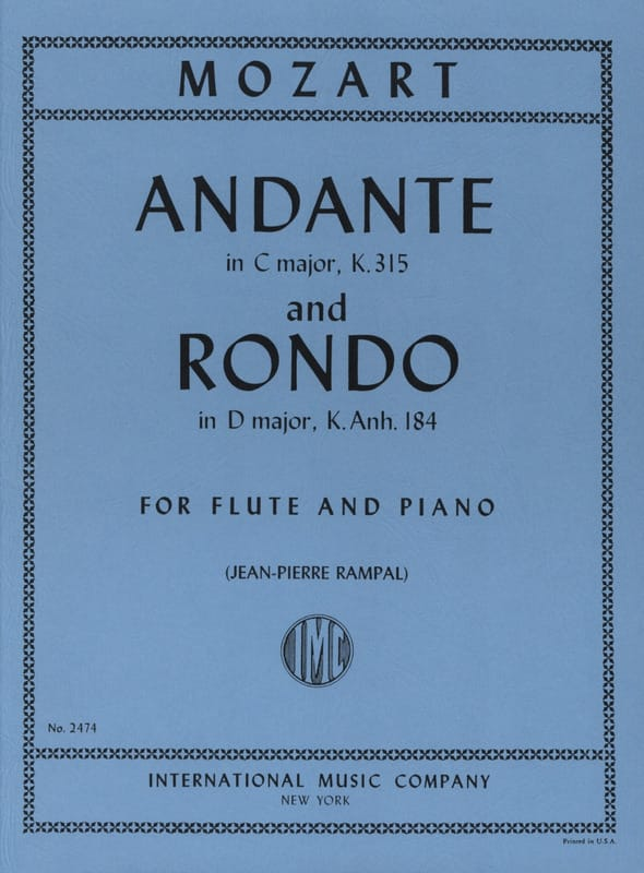 MOZART - Andante And Rondo - Partition - di-arezzo.com