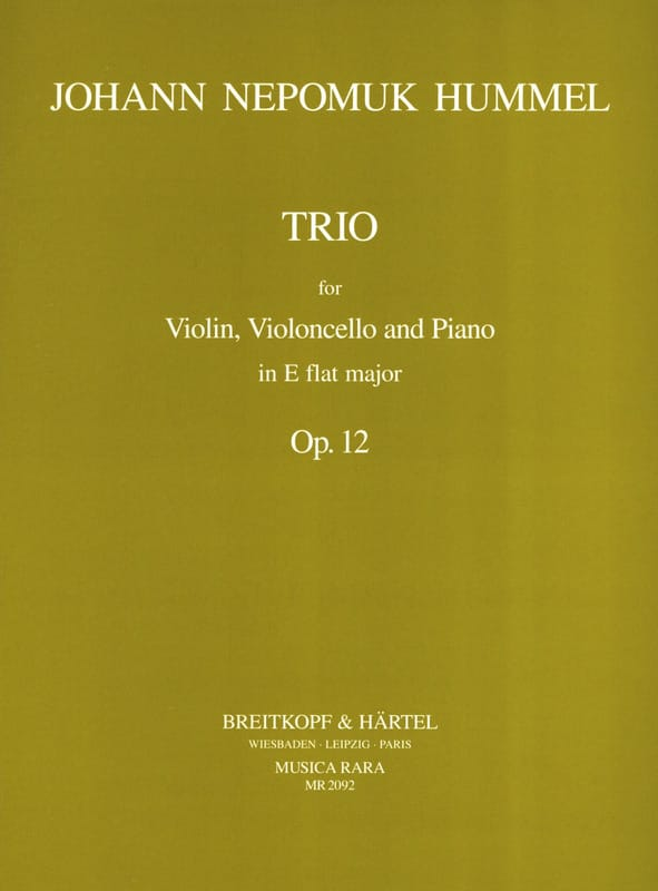 Trio op. 12 in Eb -Parts - HUMMEL - Partition - laflutedepan.com