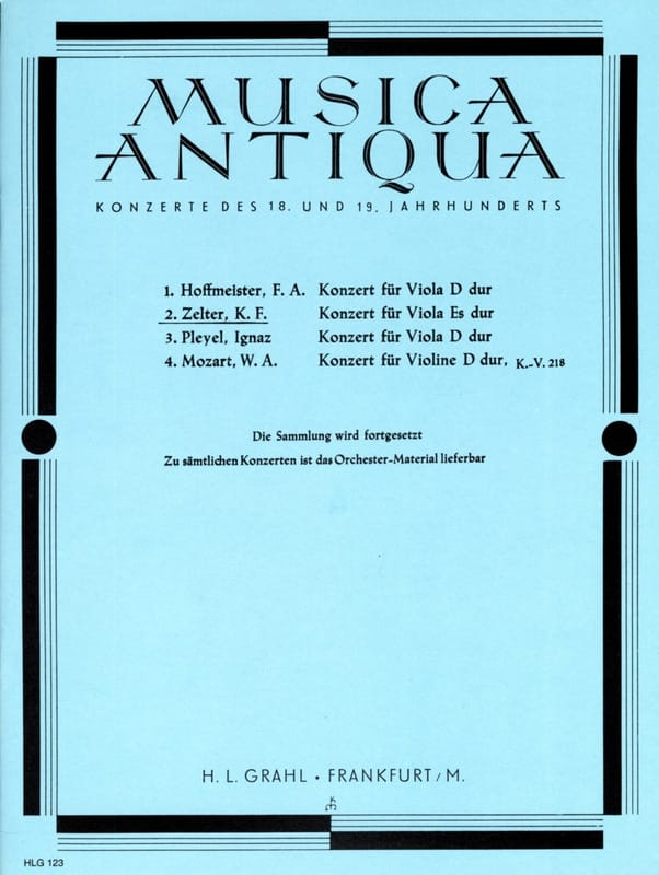 Carl Friedrich Zelter - Konzert für Viola Es Hard - Partition - di-arezzo.com