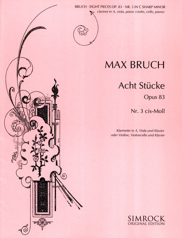 Max Bruch - 8 Stücke op. 83, No. 3 cis-moll - Klarinette Viola Klavier - Partition - di-arezzo.co.uk