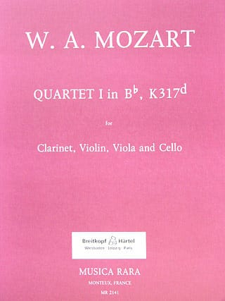 MOZART - Quartet No. 1 in Bb, KV 317d - violin clarinet viola cello - Partition - di-arezzo.co.uk
