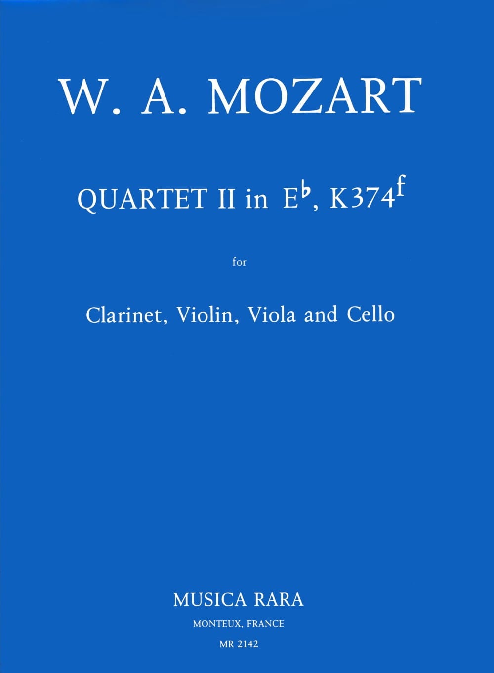 MOZART - Quartet No. 2 in Eb, KV 374f - violin clarinet viola cello - Partition - di-arezzo.co.uk
