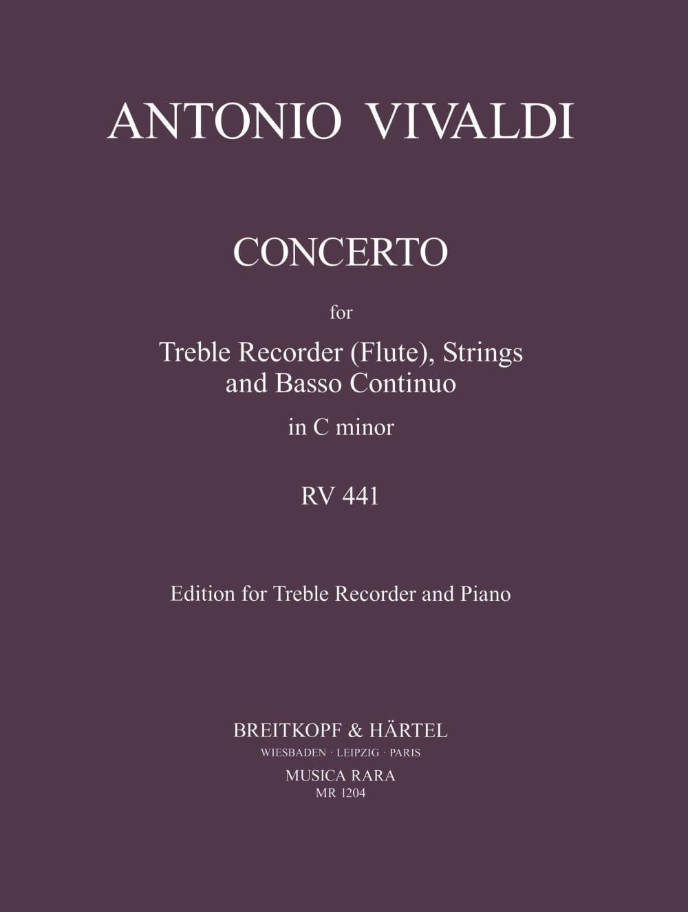 Concerto In C Minor Rv 441 - Treble Recorder Piano - laflutedepan.com