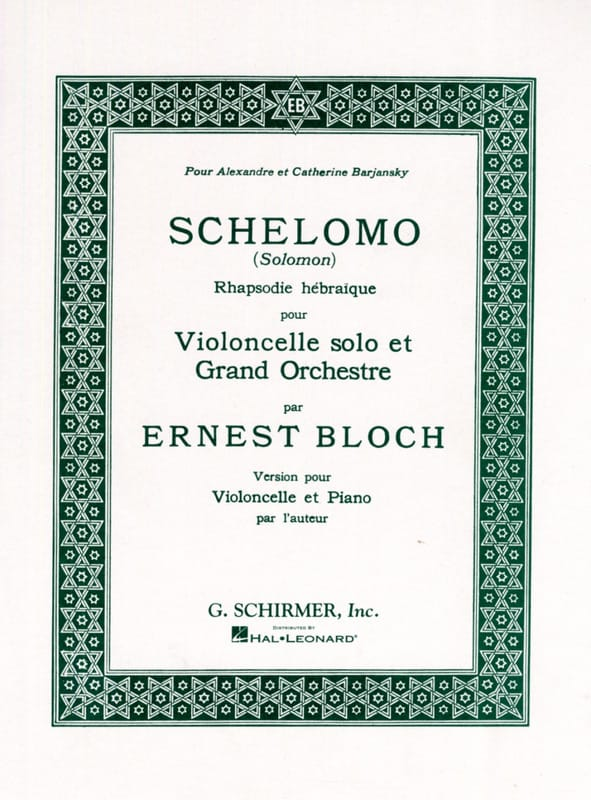 Ernest Bloch - Schelomo - Cello y Piano - Partition - di-arezzo.es