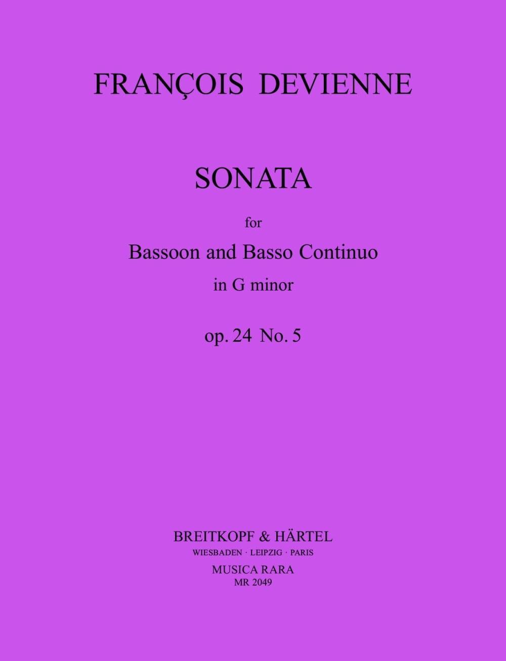 François Devienne - Sonata in Sol Minor - Bassoon and BC - Partition - di-arezzo.com