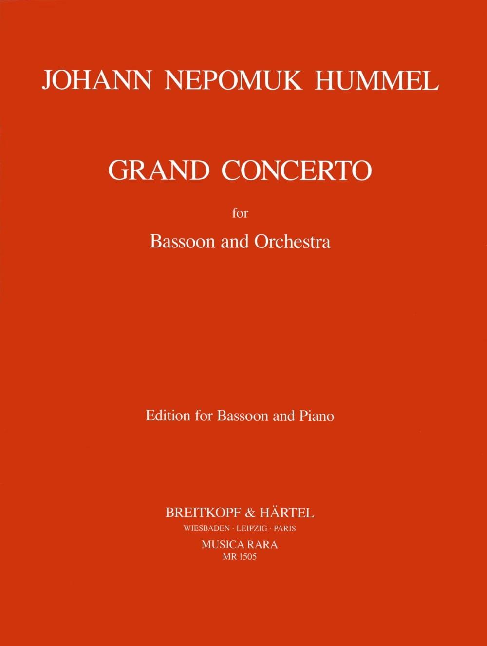 HUMMEL - Grand Concerto - Bassoon piano - Partition - di-arezzo.com