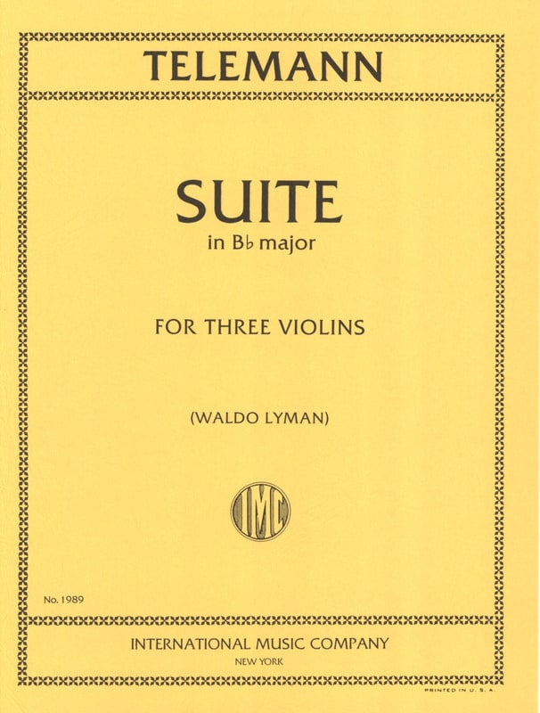 TELEMANN - Suite in B flat major for 3 violins - Partition - di-arezzo.co.uk