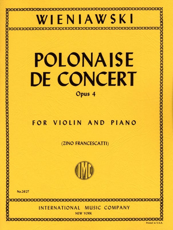 WIENIAWSKI - Polish Concert Op. 4 In Re Major - Partition - di-arezzo.co.uk