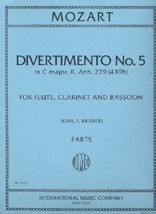 MOZART - Divertimento No. 5 KV 439b in C Major - Parts - Partition - di-arezzo.co.uk