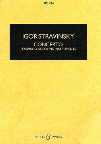 Igor Stravinsky - Concerto for piano and wind instr. - Score - Partition - di-arezzo.co.uk