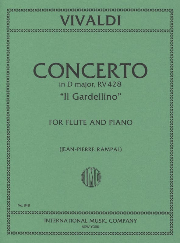 VIVALDI - Concerto in D Maj. - F. 6 No. 14 - Il Gardellino - Flute / Piano - Partition - di-arezzo.co.uk