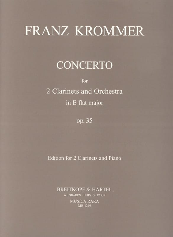 Franz Krommer - Concerto in Eb major op. 35 - 2 piano clarinets - Partition - di-arezzo.com