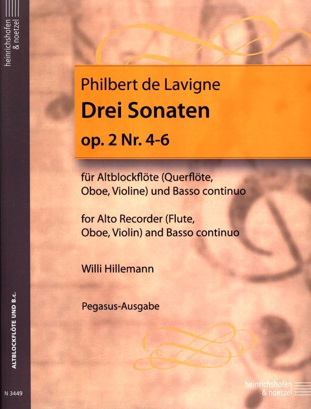 Philbert de Lavigne - 3 Sonaten op. 2 - Nr. 4-6 - Altblockflöte u. bc - Partition - di-arezzo.es