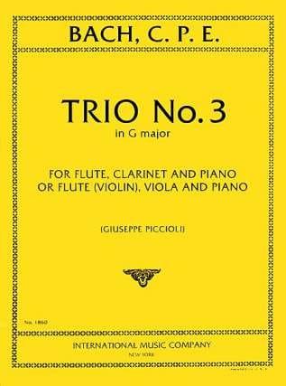 Carl Philipp Emanuel Bach - Trio n° 3 G major -Flute violin clarinet viola piano - Partition - di-arezzo.fr