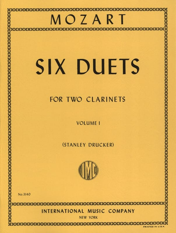 MOZART - 6 Duets - Volume 1 - 2 Clarinets - Partition - di-arezzo.co.uk
