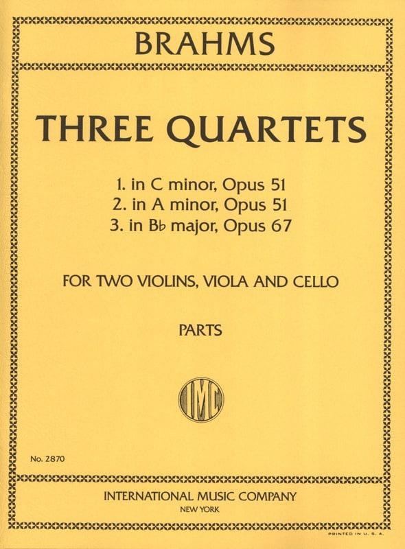 BRAHMS - 3 Quartets op. 51 No. 1-2, op. 67 - Parts - Partition - di-arezzo.co.uk