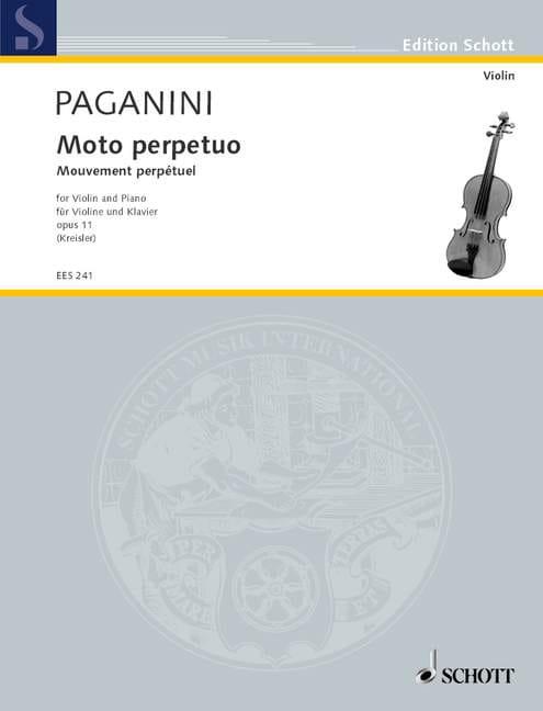 Niccolò Paganini - Moto Perpetuo op. 11 Kreisler - Partition - di-arezzo.fr