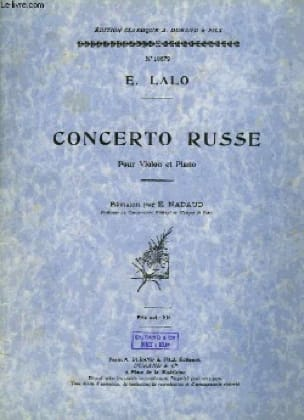 Edouard Lalo - Russian Concerto op. 29 - Partition - di-arezzo.co.uk