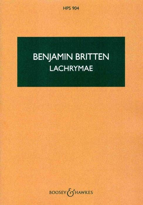 Benjamin Britten - Lachrymae op. 48a - Score - Partition - di-arezzo.co.uk