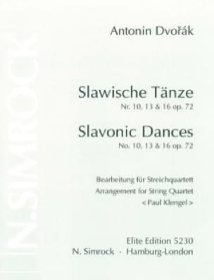 Slawische Tänze Nr. 10,13 u.16 op. 72 -Streichquartett - Stimmen - laflutedepan.com