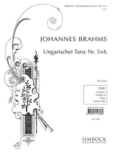 BRAHMS - Ungarische Tänze Nr. 5-6 - Streichquartett - Stimmen - Partition - di-arezzo.co.uk