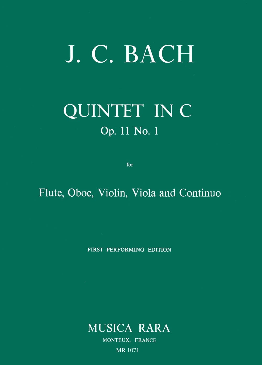 Johann Christian Bach - Quintet in C op. 11 n ° 1 - Flute oboe violin viola Bc - Partition - di-arezzo.co.uk
