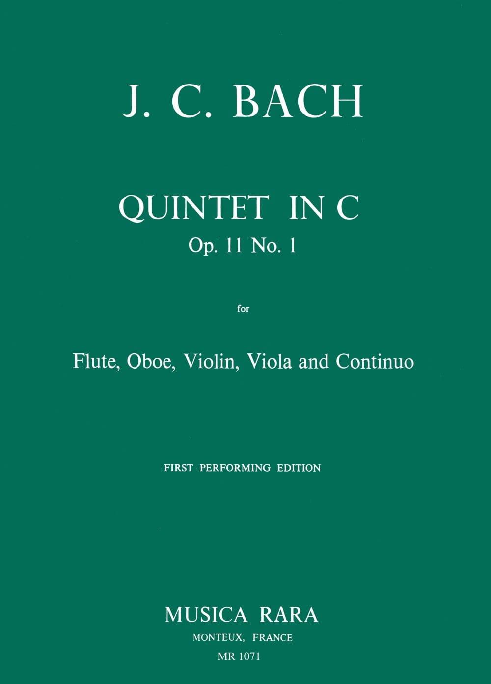 Johann Christian Bach - Quintet in C op. 11 n° 1 -Flute oboe violin viola Bc - Partition - di-arezzo.fr