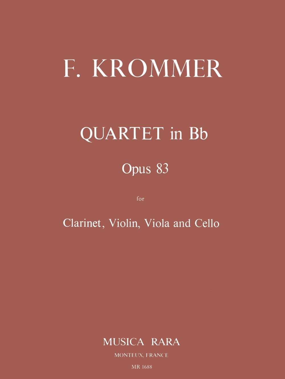 Quartet in Bb op. 83 - Clarinet violin viola cello - Parts - laflutedepan.com