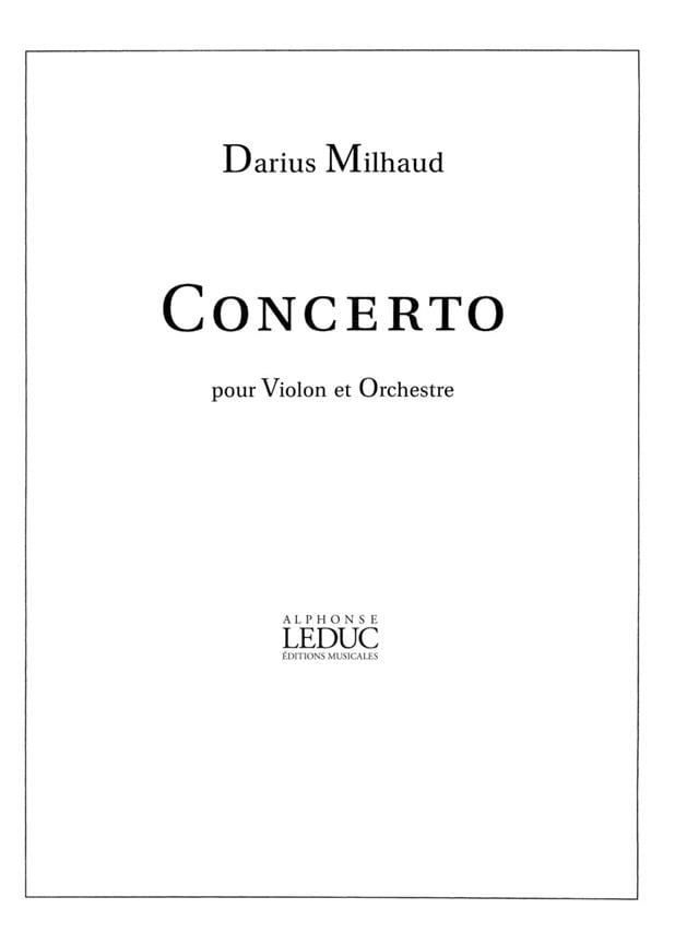 Concerto N° 1 Opus 93 - MILHAUD - Partition - laflutedepan.com