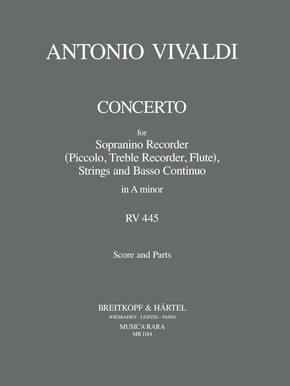 Concerto in A minor P. 83 - Sopranino recorder strings Bc - laflutedepan.com