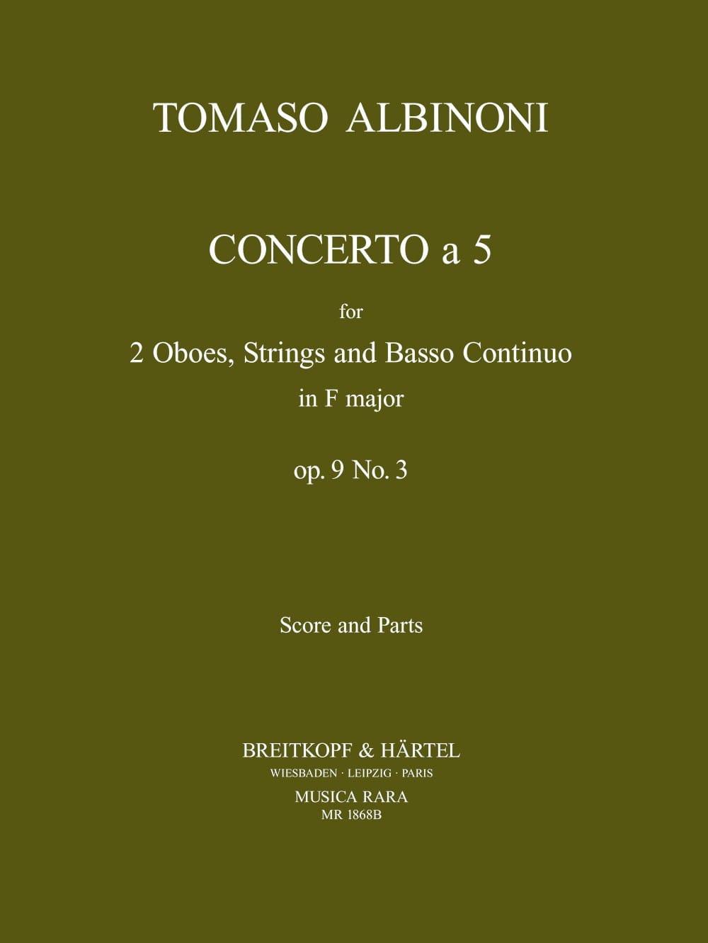 Concerto a 5, op. 9 n° 3 - Score + parts - ALBINONI - laflutedepan.com