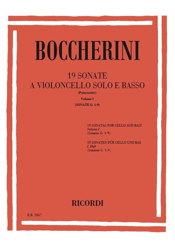 BOCCHERINI - 19 Sonatas, Volume 1 G. 1-9 - Partition - di-arezzo.co.uk