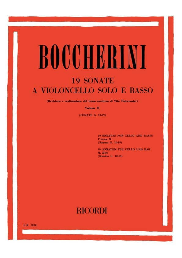 BOCCHERINI - 19 Sonatas, Volume 2 G. 10-19 - Partition - di-arezzo.co.uk