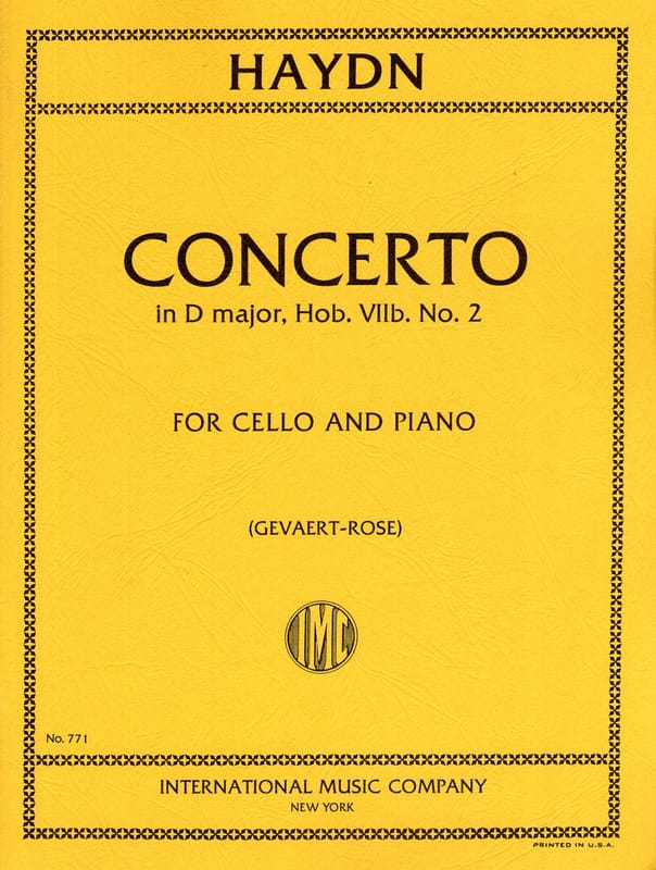 HAYDN - Concerto in D major Hob 7 n ° 2 - Cello - Partition - di-arezzo.co.uk