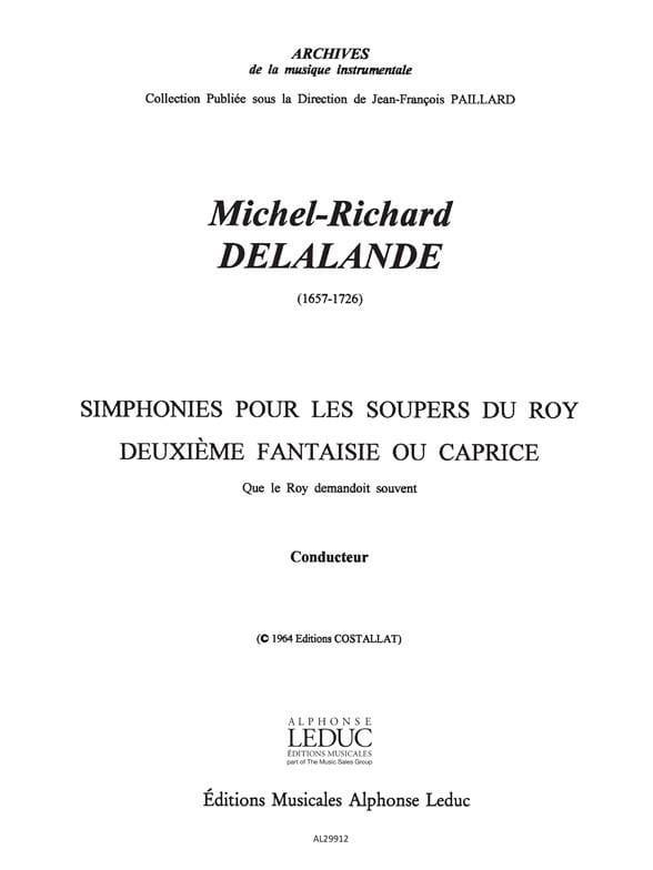 Symphonies pour les Soupers du Roy - 2e Fantaisie Caprice- Conducteur et Parties - laflutedepan.com