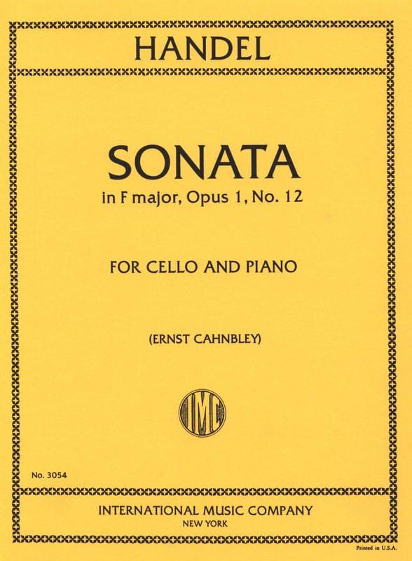 HAENDEL - Sonata in F major op. 1 n ° 12 - Partition - di-arezzo.com