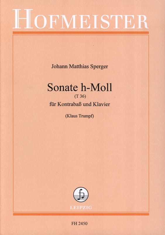 Johann Matthias Sperger - Sonata h-Moll T 36 - Partition - di-arezzo.co.uk