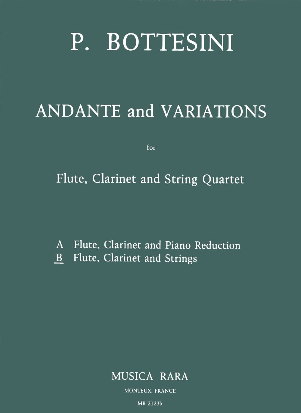 Andante and Variations - Flute clarinet string quartet - Score + Parts - laflutedepan.com