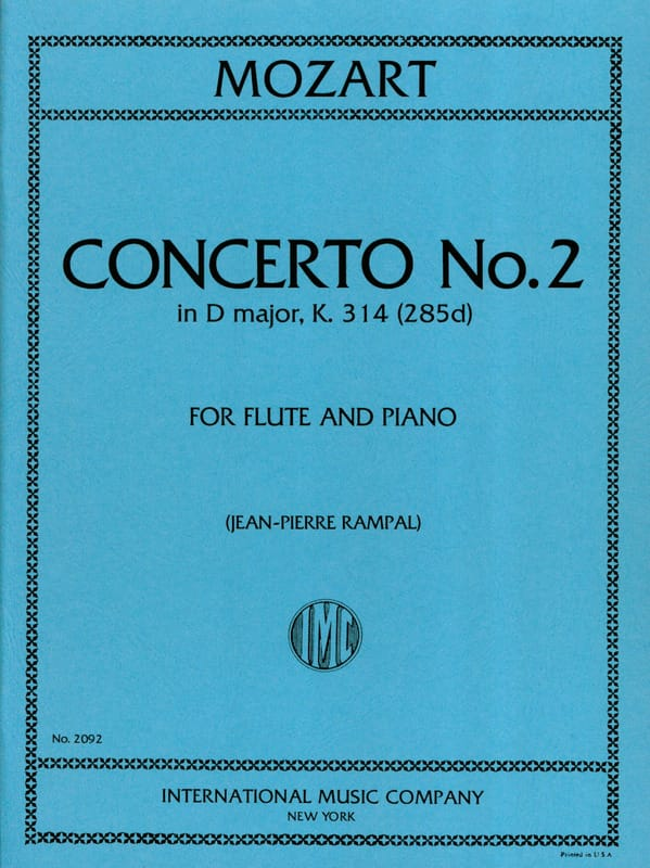 MOZART - Concerto No. 2 in D Major KV 314 - Piano Flute - Partition - di-arezzo.co.uk
