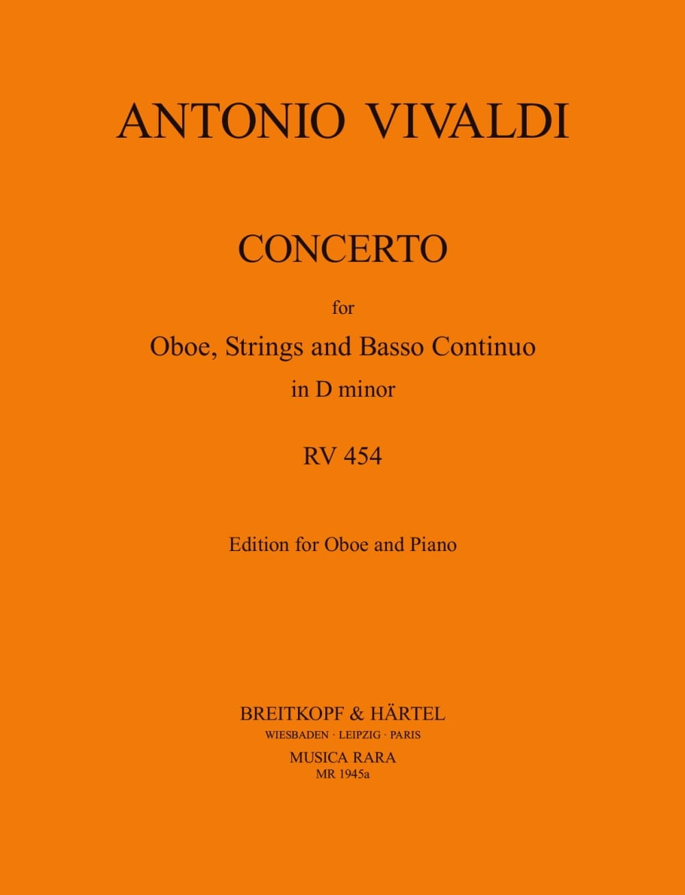 VIVALDI - Concerto In D Minor Rv 454 P. 259 - Partition - di-arezzo.co.uk
