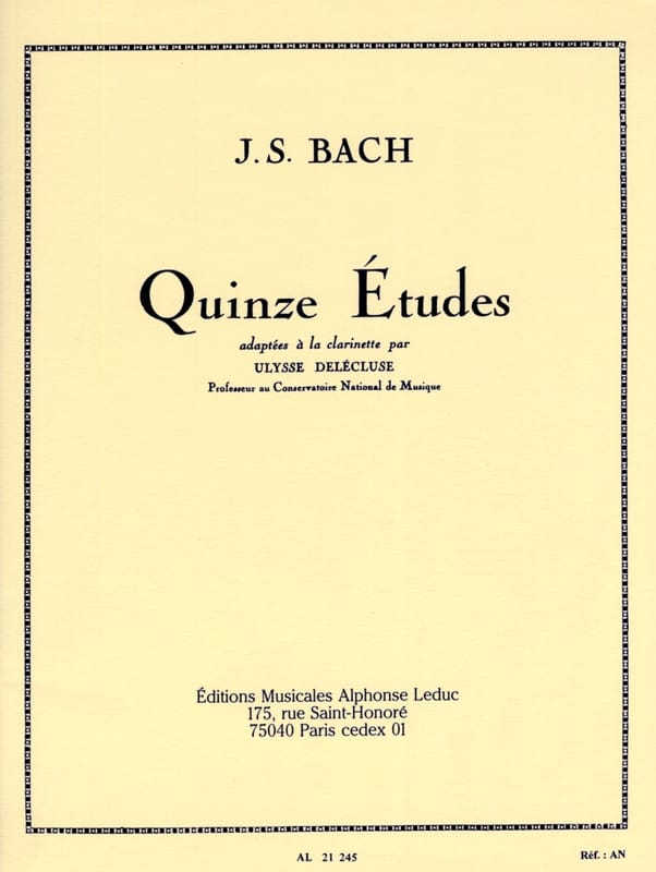 BACH - 15 Etudes - Clarinet - Partition - di-arezzo.co.uk